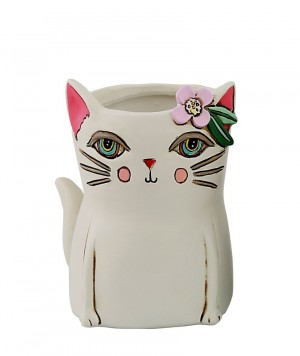 White Cat Planter Small