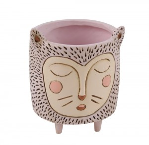 Pink Sleeping Cat Face Planter Small