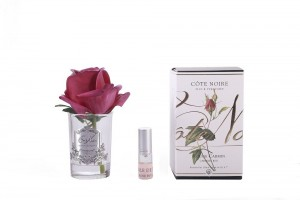 Rose Bud Carmine Red Clear Glass