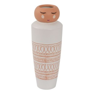 Ceramic Vase Doll Face White & Pink