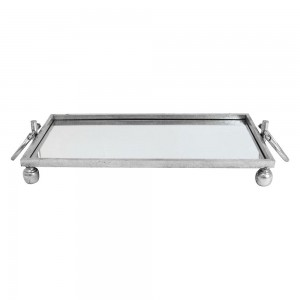 Mirror Tray Silver With Handles Small