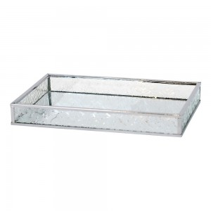 Tray Glass Rectangle Silver