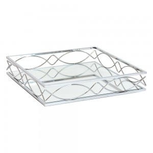 Silver Plated Metal Tray Square