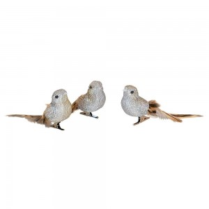 Feather Bird Clip On Grey With Natural Tail