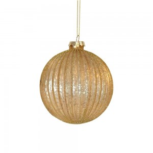 Bauble Gold Glass Ribbed