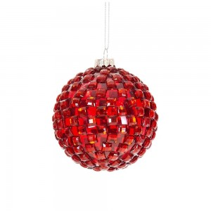 Bauble Red Glass Checked