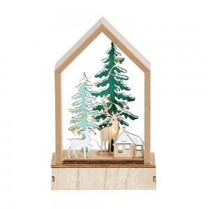 House With Deer + Green Tree LED