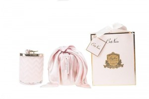 Herringbone Candle With Scarf - Pink - Pink Rose Lid