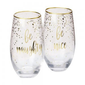 Celbrations - Stemless Glass Be Naughty + Be Nice