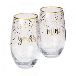 Celebrations Stemless Glasses Mine + Yours