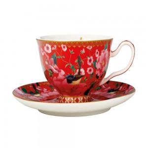 Cherry Red - Footed Cup + Saucer