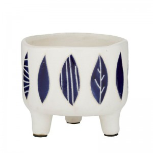 #Footed Pot White Blue