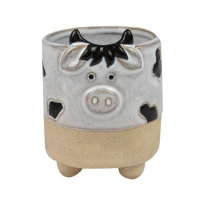 #Clarrie Cow Planter White Natural
