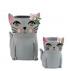 Grey Cat Planter Medium