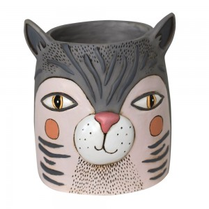 Grey Cat Face Planter Medium