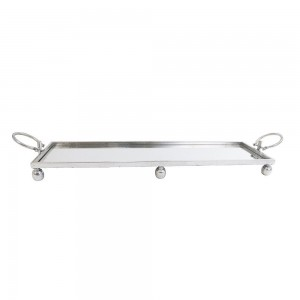 Mirror Tray Silver With Handles Large