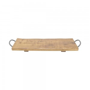Tray Oblong Rubberwood With Handles