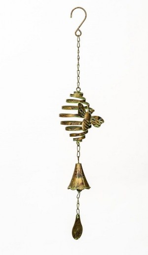 Wind Spinner With Bell & Bee- Green