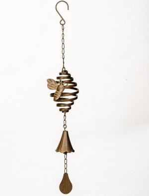 Wind Spinner with Bee & Bell- Rust