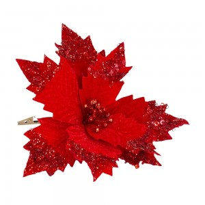 Poinsettia Clip On Red Sequin