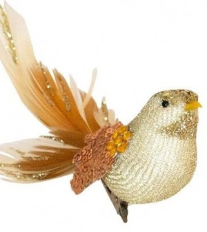 Feather Bird Clip On Champagne