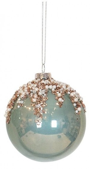 Bauble Round Mint With Champagne Bead