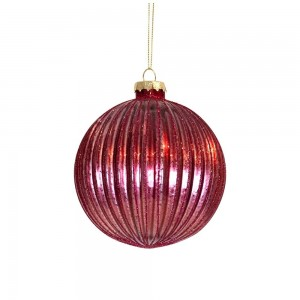 Bauble Red Glass Ribbed